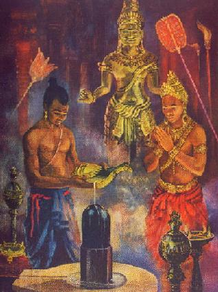 Painting portrays the priest anointing the symbol of the Hindu god Siva in rites sanctifying Jayavarman II as devaraja, or god-king.